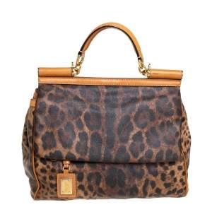 Dolce & Gabbana Brown/Tan Leopard Print Coated Canvas and Leather Large Miss Sicily Top Handle Bag