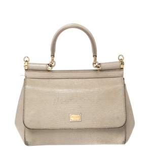 Dolce & Gabbana Grey Lizard Embossed Leather Small Miss Sicily Top Handle Bag