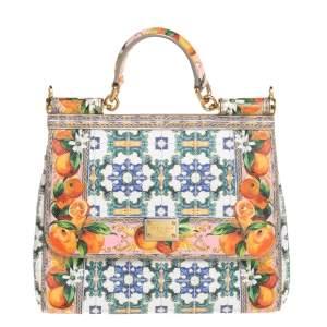 Dolce & Gabbana Multicolor Printed Leather Medium Miss Sicily Top Handle Bag