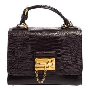 Dolce & Gabbana Dark Purple Lizard Embossed Leather Small Miss Monica Top Handle Bag
