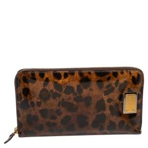 Dolce & Gabbana Brown Leopard Print Patent Leather Zip Around Organizer Wallet