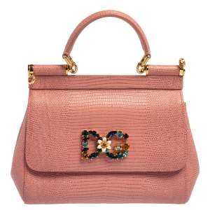 Dolce & Gabbana Pink Lizard Embossed Leather Small Miss Sicily Top Handle Bag