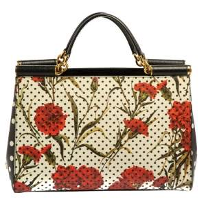 Dolce & Gabbana Multicolor Floral Printed Leather Miss Sicily Tote