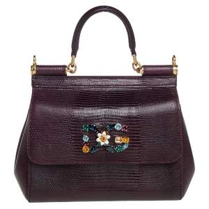 Dolce & Gabbana Dark Burgundy Lizard Embossed Leather Small Miss Sicily Crystal Top Handle Bag