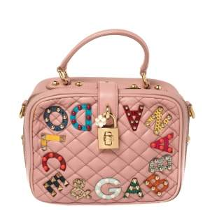 Dolce & Gabbana Pink Quilted Leather Embellished Treasure Box Bag