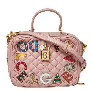 Dolce & Gabbana Pink Quilted Leather Embellished Treasure Box Crossbody Bag