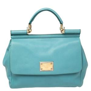 Dolce & Gabbana Blue Leather Large Miss Sicily Top Handle Bag