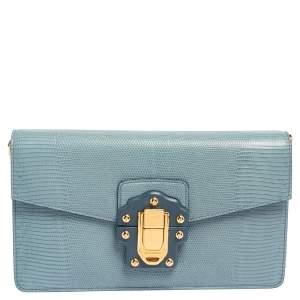 Dolce & Gabbana Blue Lizard Embossed Leather Lucia Shoulder Bag