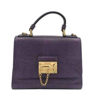 Dolce & Gabbana Purple Leather Monica Shoulder Bag