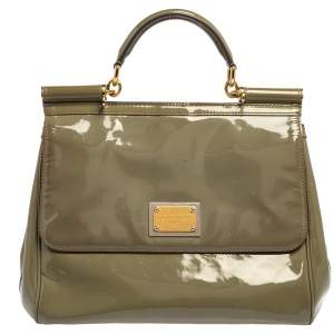 Dolce & Gabbana Olive Green Patent Leather Large Miss Sicily Top Handle Bag
