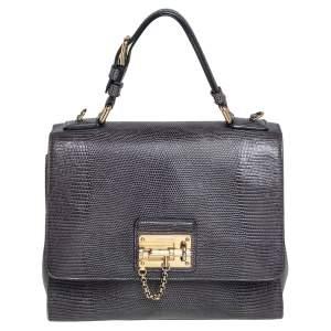 Dolce & Gabbana Grey Lizard Embossed Leather Medium Miss Monica Top Handle Bag