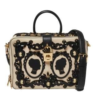 Dolce & Gabbana Beige Leather Embellished Large Rosaria Box Top Handle Bag