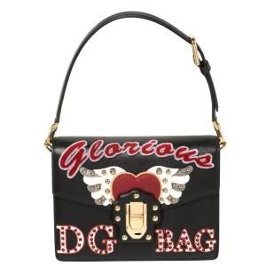 Dolce & Gabbana Black Embellished Leather Lucia Glorious Shoulder Bag