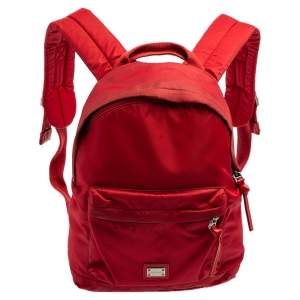 Dolce & Gabbana Red Nylon Logo Plaque Small Backpack