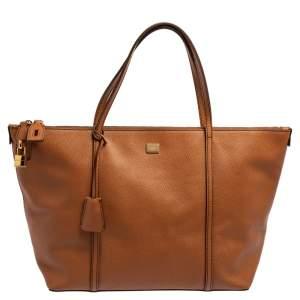 Dolce & Gabbana Brown Leather Miss Escape Top Zip Shopper Tote