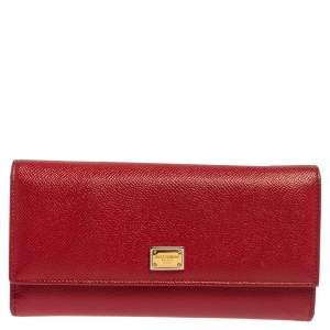 Dolce & Gabbana Red Dauphine Leather Continental Wallet