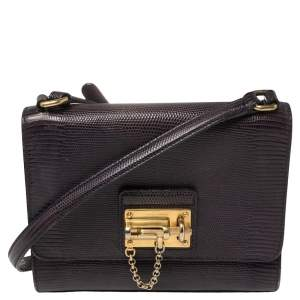 Dolce & Gabbana Plum Lizard Embossed Leather Miss Monica Shoulder Bag