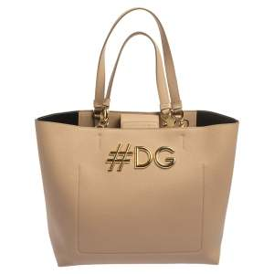 Dolce & Gabbana Beige Leather Beatrice Tote
