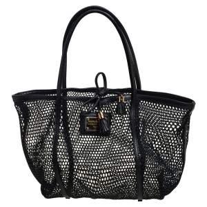حقيبة يد توتس دولتشي آند غابانا جلد وشبك بي في سي أسود مفتوحة