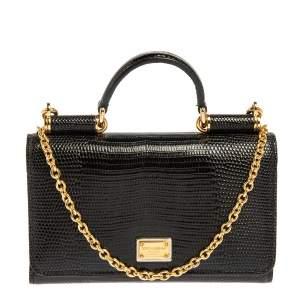 Dolce & Gabbana Black Lizard Embossed Leather Sicily Von Wallet on Chain