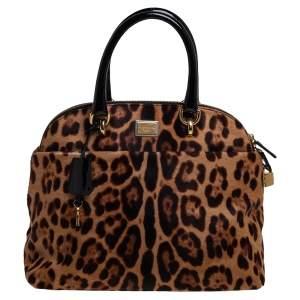 Dolce & Gabbana Black/Brown Leopard Print Calf Hair and Patent Satchel