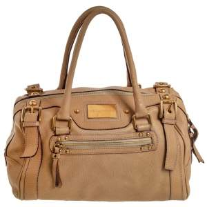 Dolce & Gabbana Beige Grained Leather Miss Easy Way Boston Bag