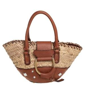 Dolce & Gabbana Brown/Beige Raffia and Leather Small Crystal Embellished Tote