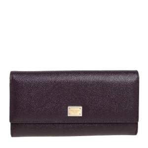 Dolce & Gabbana Burgundy Leather Dauphine Continental Wallet