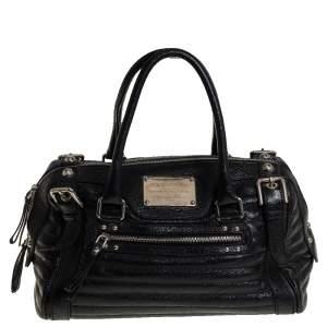 Dolce & Gabbana Black Metallic Leather Miss Easy Way Boston Bag