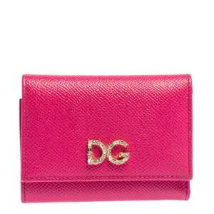 Dolce & Gabbana Fuchsia Leather DG Crystal Embellished Trifold Wallet