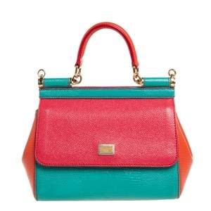Dolce & Gabbana Tricolor Leather and Lizard Embossed Leather Small Miss Sicily Top Handle Bag