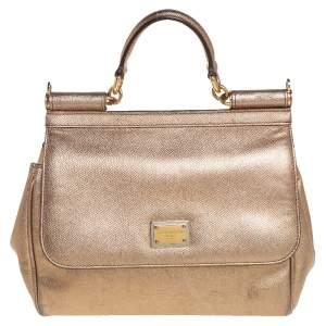 Dolce & Gabbana Gold Leather Medium Miss Sicily Top Handle Bag