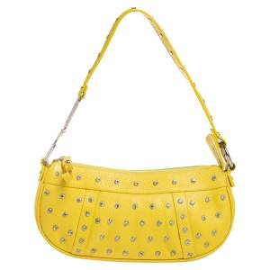 Dolce & Gabbana Yellow Leather Studded Baguette