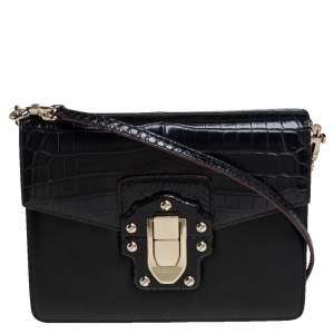 Dolce & Gabbana Black Croc, Snakeskin and Leather Lucia Shoulder Bag