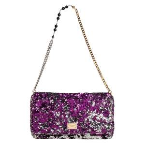 Dolce & Gabbana Purple/Silver Sequin and Leather Miss Charles Shoulder Bag