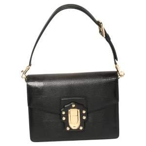 Dolce & Gabbana Black Lizard Embossed Leather Lucia Shoulder Bag