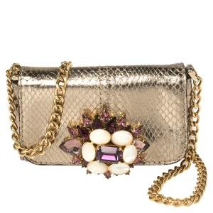 Dolce & Gabbana Gold Snakeskin Crystal Embellished Chain Pouch