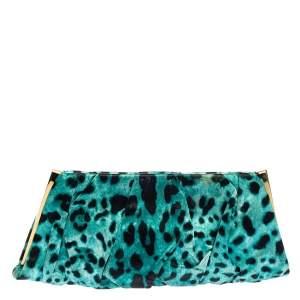 Dolce & Gabbana Black/Green Leopard Print Satin Miss Lady Clutch