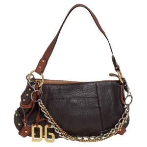 Dolce & Gabbana Brown Leather Small Multi Chain Shoulder Bag