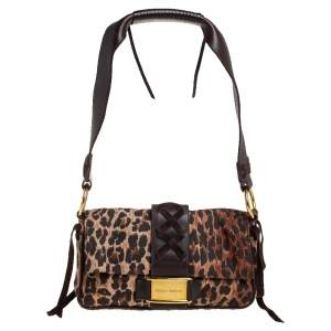 Dolce & Gabbana Brown Leopard Print Canvas and Leather Corset Flap Bag