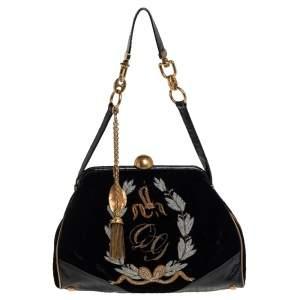 Dolce & Gabbana Black Logo Embroidered Velvet and Eel Frame Satchel