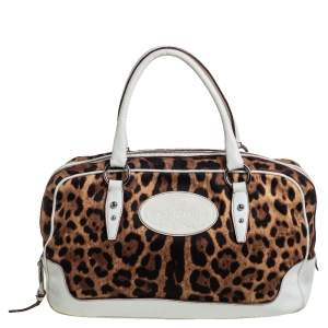 Dolce & Gabbana White Brown Animal Print Canvas and Leather Satchel