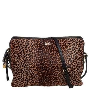 Dolce & Gabbana Lepord Print Pony Hair and Leather Zipper Shoulder Bag