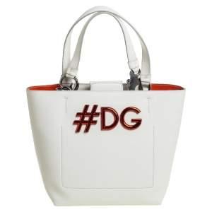 Dolce & Gabbana White Leather Beatrice Tote
