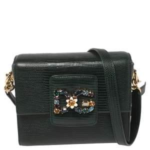 Dolce & Gabbana Green Lizard Embossed Leather DG Millennials Crossbody Bag