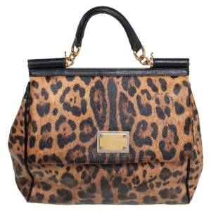 Dolce & Gabbana Black/Brown Animal Print Coated Canvas and Leather Large Miss Sicily Top Handle Bag