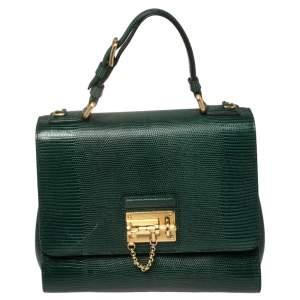 Dolce & Gabbana Green Lizard Embossed Leather Medium Miss Monica Top Handle Bag