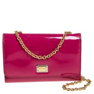 Dolce & Gabbana Pink Patent Leather Wallet On Chain