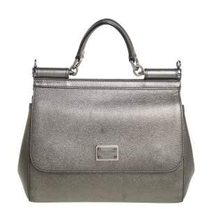 Dolce & Gabbana Metallic Leather Medium Miss Sicily Bag