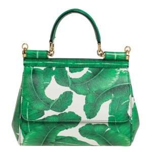 Dolce & Gabbana Green Banana Leaf Print Leather Small Miss Sicily Top Handle Bag